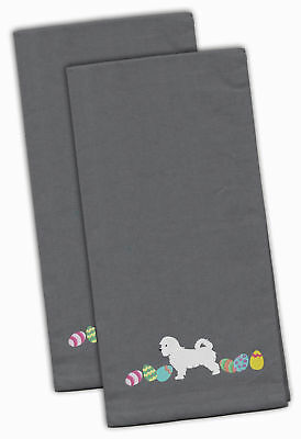 Maltese Easter Gray Embroidered Kitchen Towel Set of 2