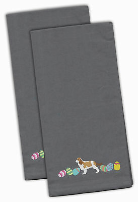 Cavalier Spaniel Easter Gray Embroidered Kitchen Towel Set of 2