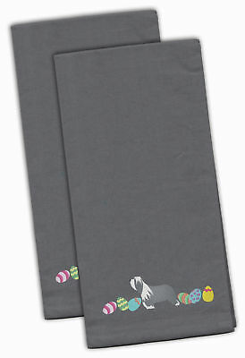 Bearded Collie Easter Gray Embroidered Kitchen Towel Set of 2
