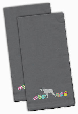 German Wirehaired Pointer Easter Gray Embroidered Kitchen Towel Set of 2