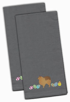 Pomeranian Easter Gray Embroidered Kitchen Towel Set of 2