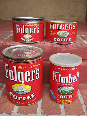 Lot of 4: Vintage 1946 & 1959 FOLGER'S Coffee Tins (Cans) + KIMBELL early '60s