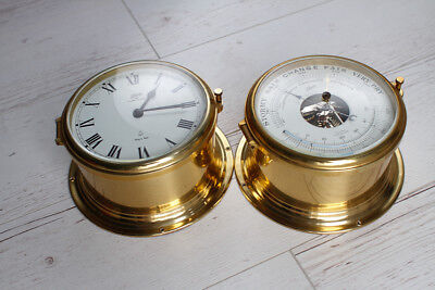 West German Schatz Ocean Qartz Brass Ships Clock and Barometer Set - VERY NICE