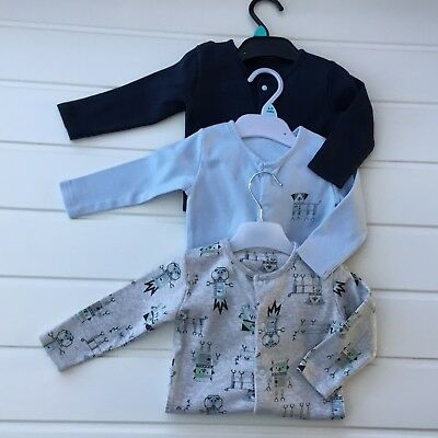 Baby Boy Clothes 6 9 Months Set 3 Sleepsuits Babygrows Blue Mix
