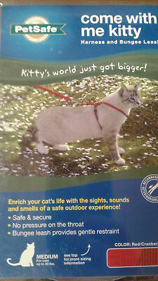 PetSafe Medium Cat harness Bungee Leash Come with me kitty Red Cranberry