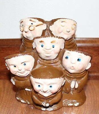 Vintage Weiss Pottery Monk/Friar Egg Holder 6 Cups