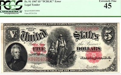 """$5 1907, LEGAL TENDER """"PCBLIC ERROR"""", """"RED SEAL"""", Fr. 91, PCGS 45 EXTREMELY FINE"""