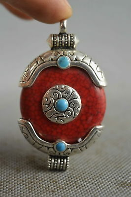 Collectable Handwork Decor old Miao Silver Carve Totem Inlay Agate Noble Pendant