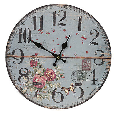 Clayre & Eef Vintage Wall Clock Nostalgic Country House Roses Blue Red Shabby