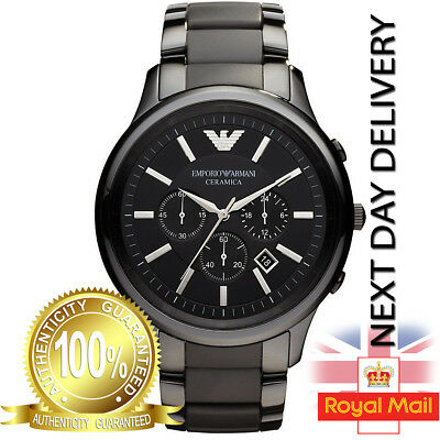 Genuine Emporio Armani AR1451 Mens Black Ceramic Chronograph Ceramica Watch UK