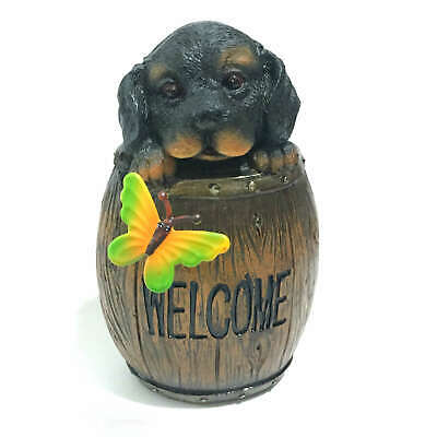 Resin Decoration Puppy Cask Welcome Dog Garden Statues