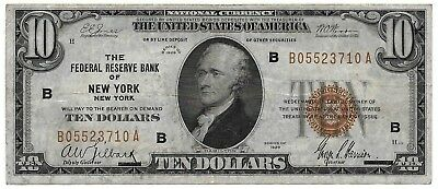 1929 $10 Ten Dollar Brown Seal National Federal Reserve Bank New York