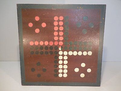 AAFA Paint Decorated Wood Gameboard Ludo Parcheesi Gameboard Original Paint