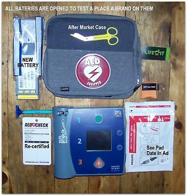 Phillips FR2+ AED With ECG Defibrillator HeartStart 2022 Battery, 2019 Pads Case