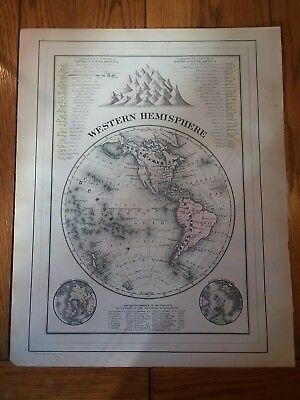 Antique Map of Western Hemisphere from an 1893 Mitchell's Atlas