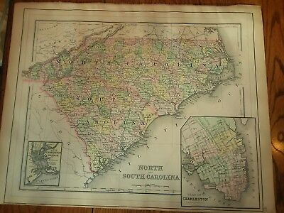Antique Map of North Carolina & South Carolina from an 1893 Mitchell's Atlas