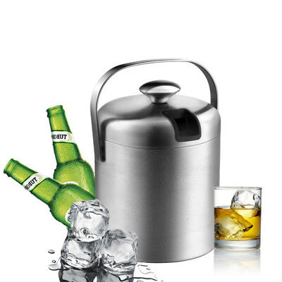 Ice Bucket with Lid Tong Stainless Champagne Beer Wine Drink Cooler Bar Party