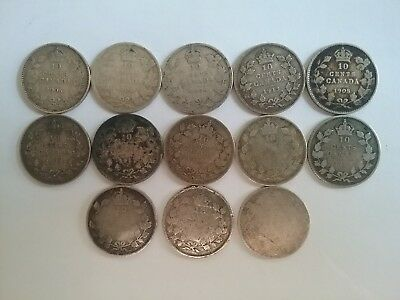 Lot of 13 ~ Canada ~ 1906 to 1919 ~ Ten Cents ~ 92.5% and 80% Silver Coins