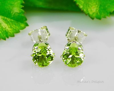Genuine Green Peridot Round Sterling Silver Earrings (FREE SHIPPING)
