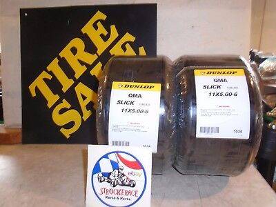 RACING GO KART NOS DUNLOP TIRES 11x5.00-6 VINTAGE CART PART DRIFT TRIKE X2