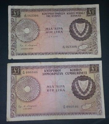 Cyprus lot of 2 banknotes 1 pound 1961,1975 RARE