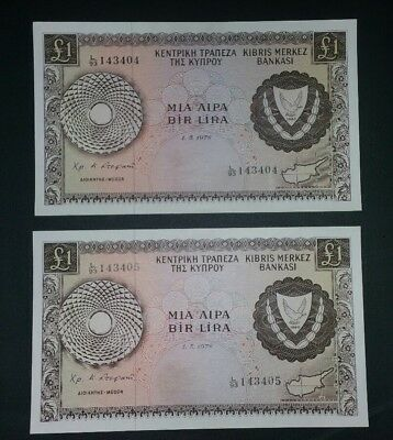 Cyprus lot of 2 banknotes 1 pound 1978 UNC RARE