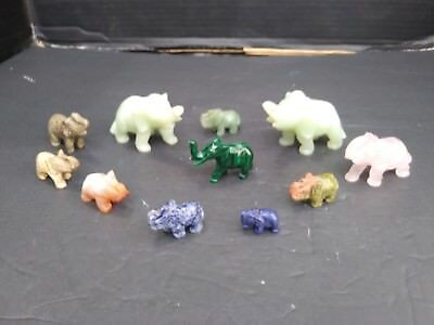 Lot of 12 Stone Elephant Figurines, consisting of Jade, malachite, marble & more