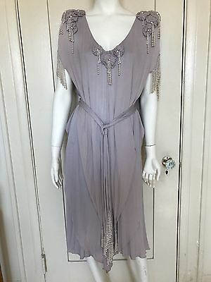 Holly Harp Vintage Lilac Pearl Adorned Flapper Dress S P