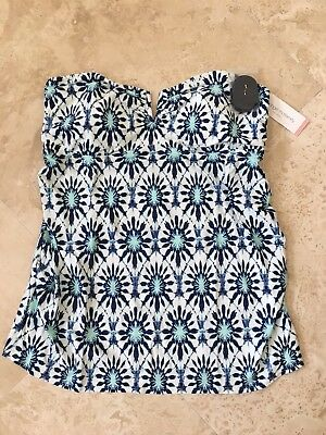 NEW Liz Lang Women's Maternity Swim Bandeau Tankini Top Navy Print Size XL