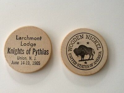 KNIGHTS of PYTHIAS wooden nickels set of 2! LARCHMONT LODGE Union NJ vintage old