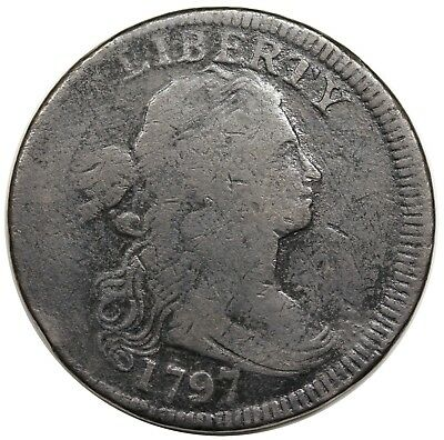 1797 Draped Bust Large Cent, Reverse of '97, Stems, S-138, VG detail