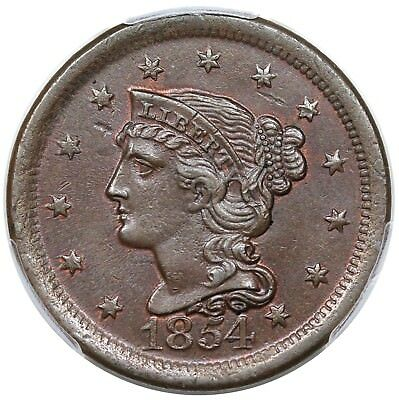 "1854 Braided Hair Large Cent, N-9, ""Dartboard Obverse,"" LDS, PCGS MS63BN"