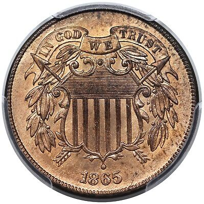 1865 Two Cent Piece, PCGS MS64RD
