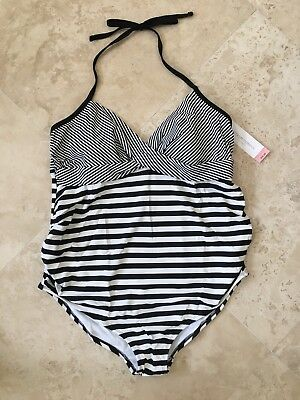 NEW Liz Lang Women's Maternity Swimsuit One Piece Stripes Black & White Size XXL
