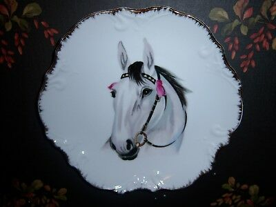 Horse Collector Plate-Beautiful Gold Scalloped Edge- Made in Japan