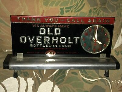 Old Overholt Whiskey Advertising Sign Clock National Distillers Vtg Antique Rare