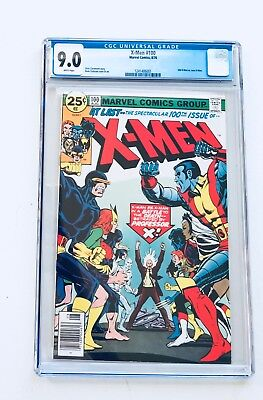 The X-Men #100 CGC Grade 9.0 NM Origin New vs Old Marvel White Pages New Case
