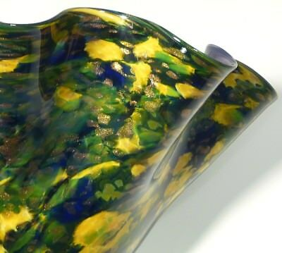 "13"" Hand Blown Glass Art Bowl, Dirwood, Purple Gold Green Blue, Gold Sparkles"