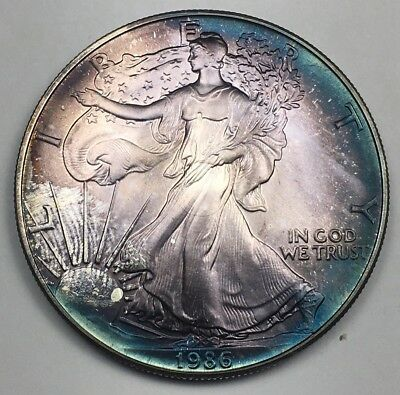 1986 ASE First Year American Silver Eagle Deep Multi Color Toned Rainbow Toning!