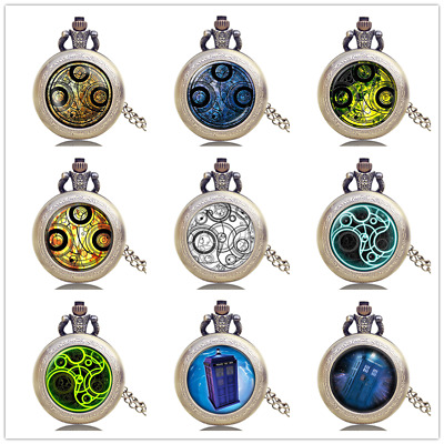 Bronze Doctor Who Theme Style Men Boy Quartz Pocket Watch with Necklace Chain