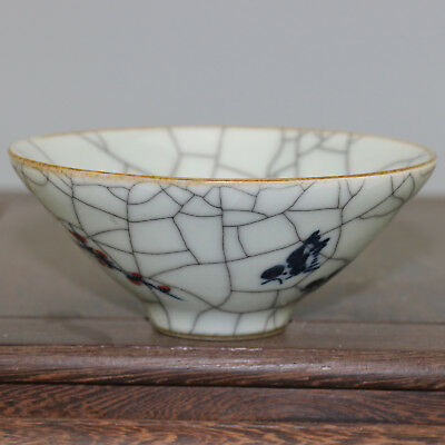 Chinese old hand-carved porcelain Blue & white youligong plum blossom bowl