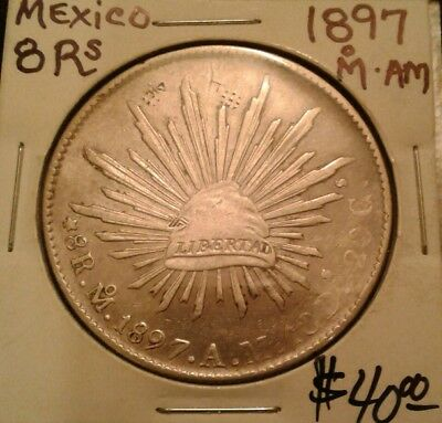 1897 Mo A.M. Republic of Mexico Silver 8 reales coin. With chop marks!