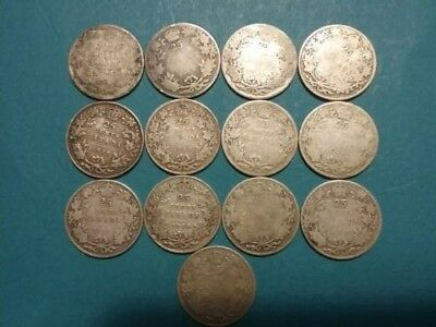Lot of 13 ~ Canada ~ 1906 to 1919 ~ 25 Cents ~ 92.5% and 80% Silver Coins