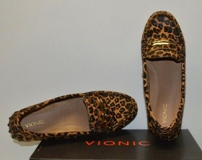 585ff565ad2 Vionic Womens Honor Ashby Loafers Leopard Calf Hair Tan Flats Shoes US 7.5  38.5