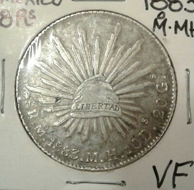 1883 Mo M.H. Republic of Mexico Silver 8 reales coin.