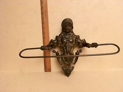 Antique Brass Victorian Female Shaped Swinging Towel Rack Unique Vintage