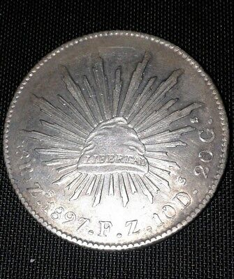 1897 Zs  F.Z. Republic of Mexico Silver 8 reales coin.