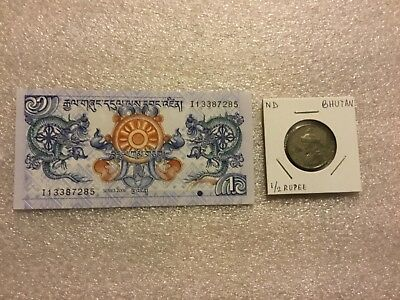 BHUTAN:1 Ngultrum - 2006 Currency + 1/2 rupee Coin