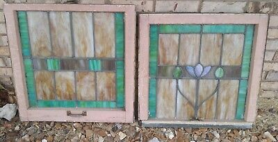 Vintage Pair Leaded Stain Glass Windows From Old Home ~ Roses, Arts & Crafts