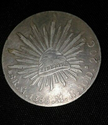 1888 Mo M.H. Republic of Mexico Silver 8 reales coin.